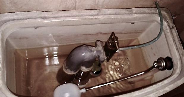 riparazione dello scarico WC - vista della vaschetta